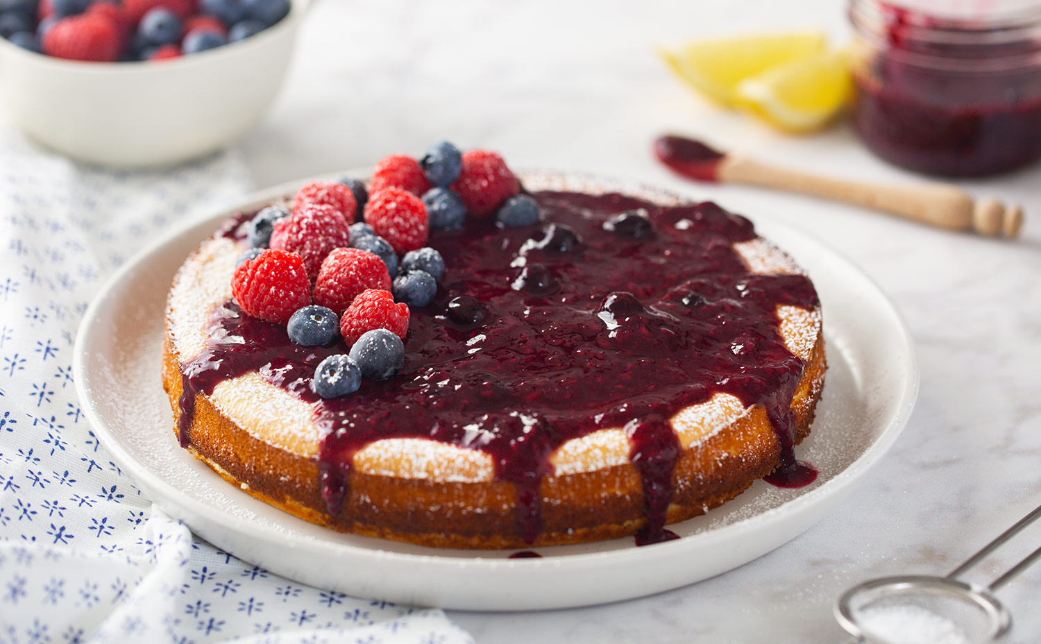 Lemon Bean Cake with Fresh Fruit Sauce