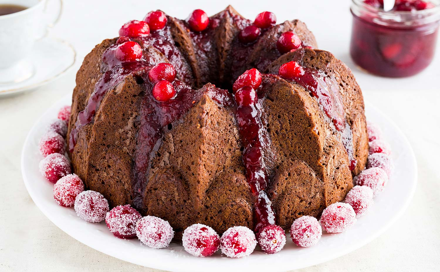 Apple Bean Cake with Warm Cranberry Sauce