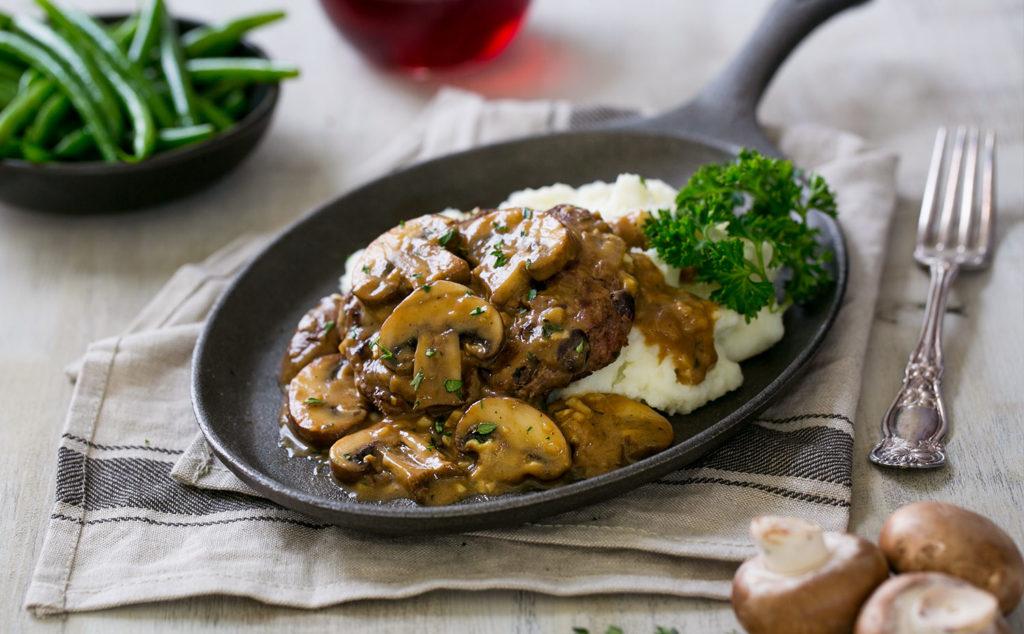 Bean Salsbury Steak with Mushroom Gravy