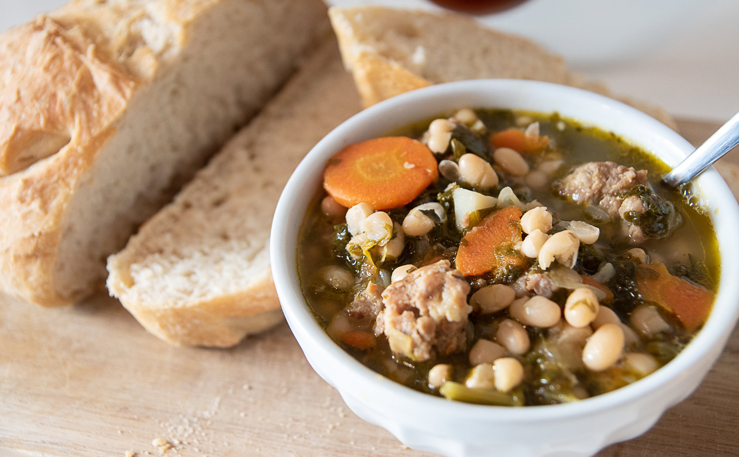 Spicy Sausage, Kale and White Bean Soup