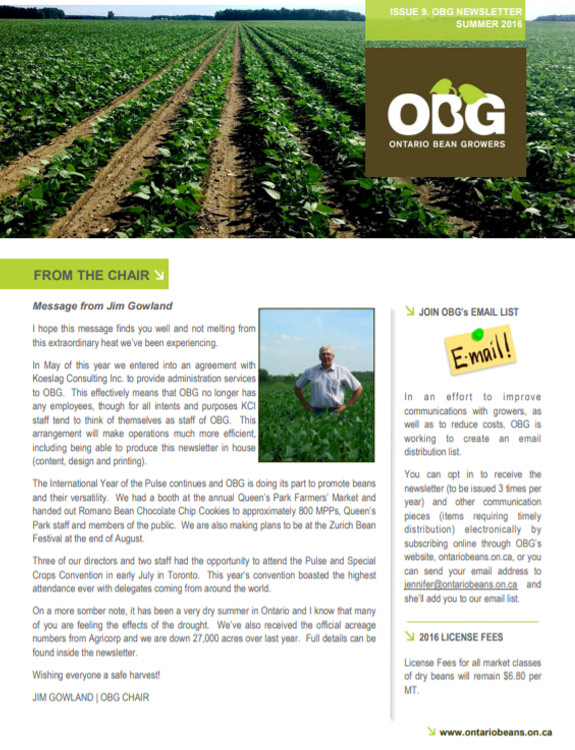 Ontario Bean Growers Newsletter - August 2016
