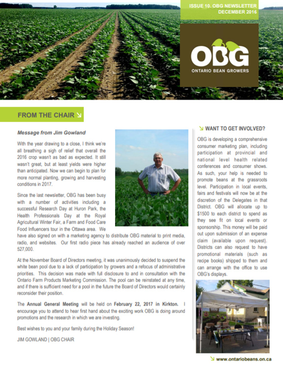 Ontario Bean Growers Newsletter - December 2016