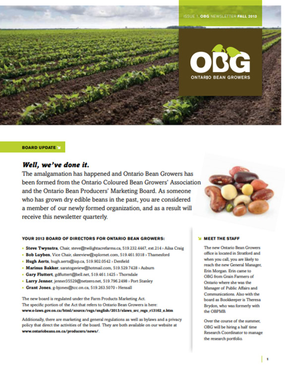 Ontario Bean Growers Newsletter - Fall 2013