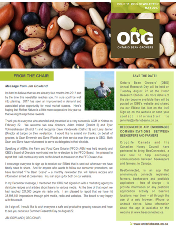 Ontario Bean Growers Newsletter - May 2017