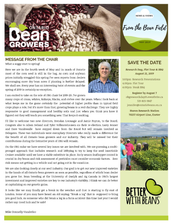Ontario Bean Growers Newsletter - May 2019