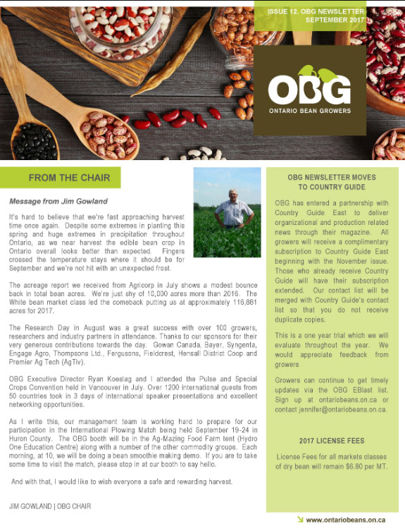 Ontario Bean Growers Newsletter - September 2017