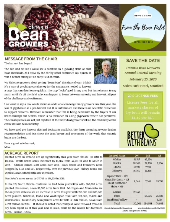 Ontario Bean Growers Newsletter - September 2019