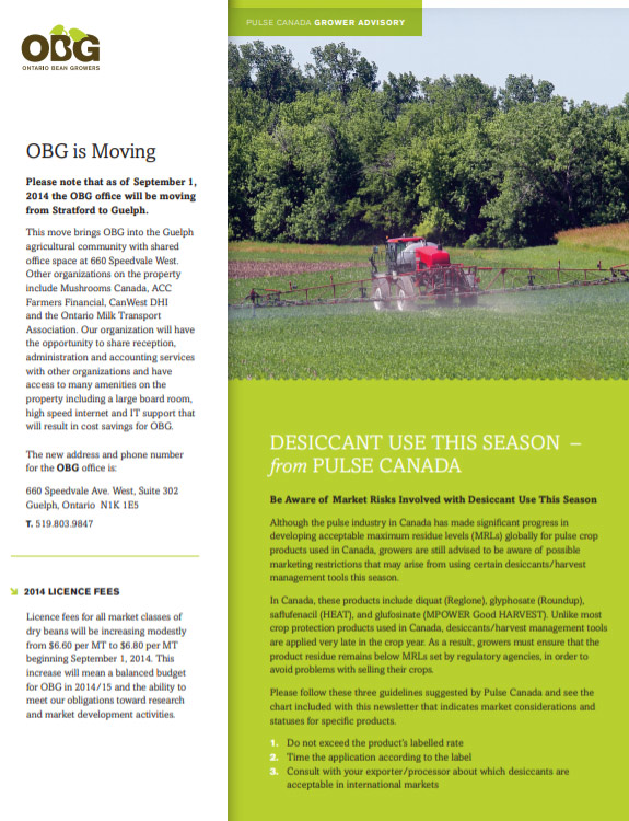 Ontario Bean Growers Newsletter - Summer 2014