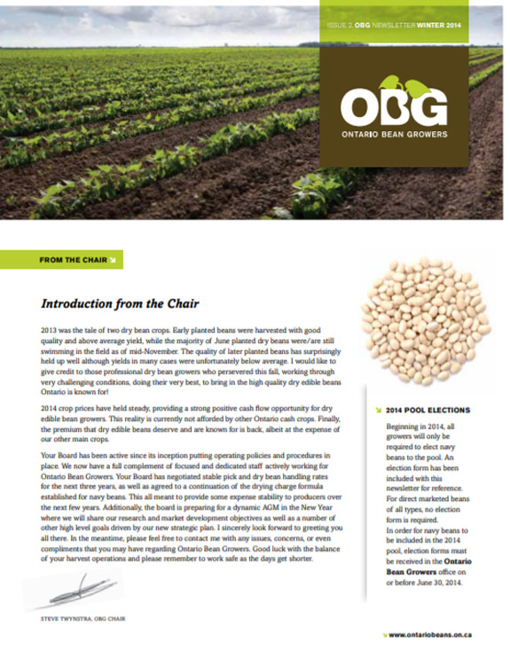 Ontario Bean Growers Newsletter - Winter 2014