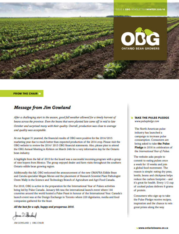 Ontario Bean Growers Newsletter - Winter 2015