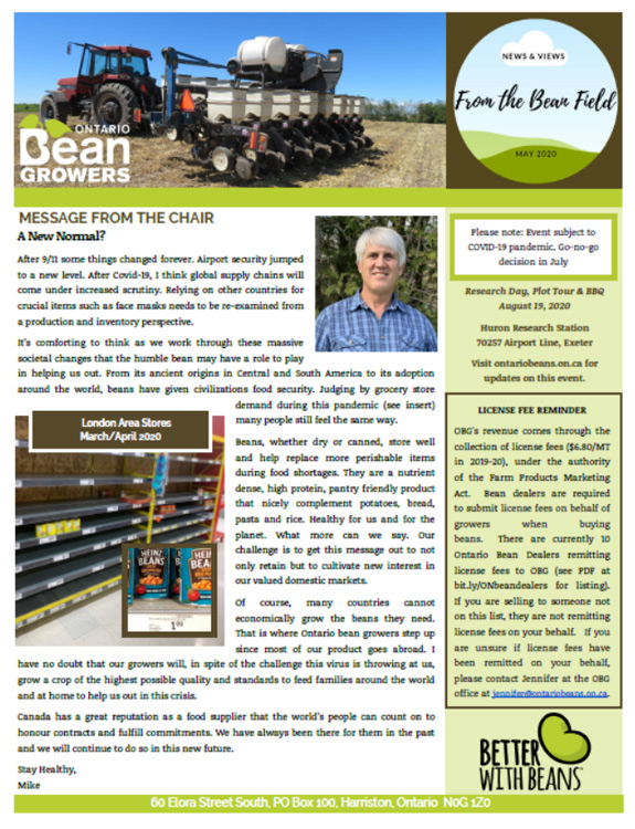 Ontario Bean Growers Newsletter - May 2020