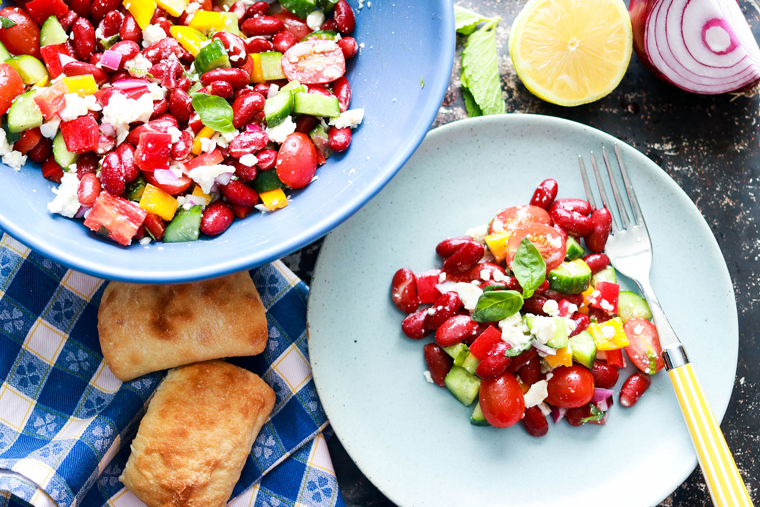 Red Kidney Bean Summer Salad with Feta