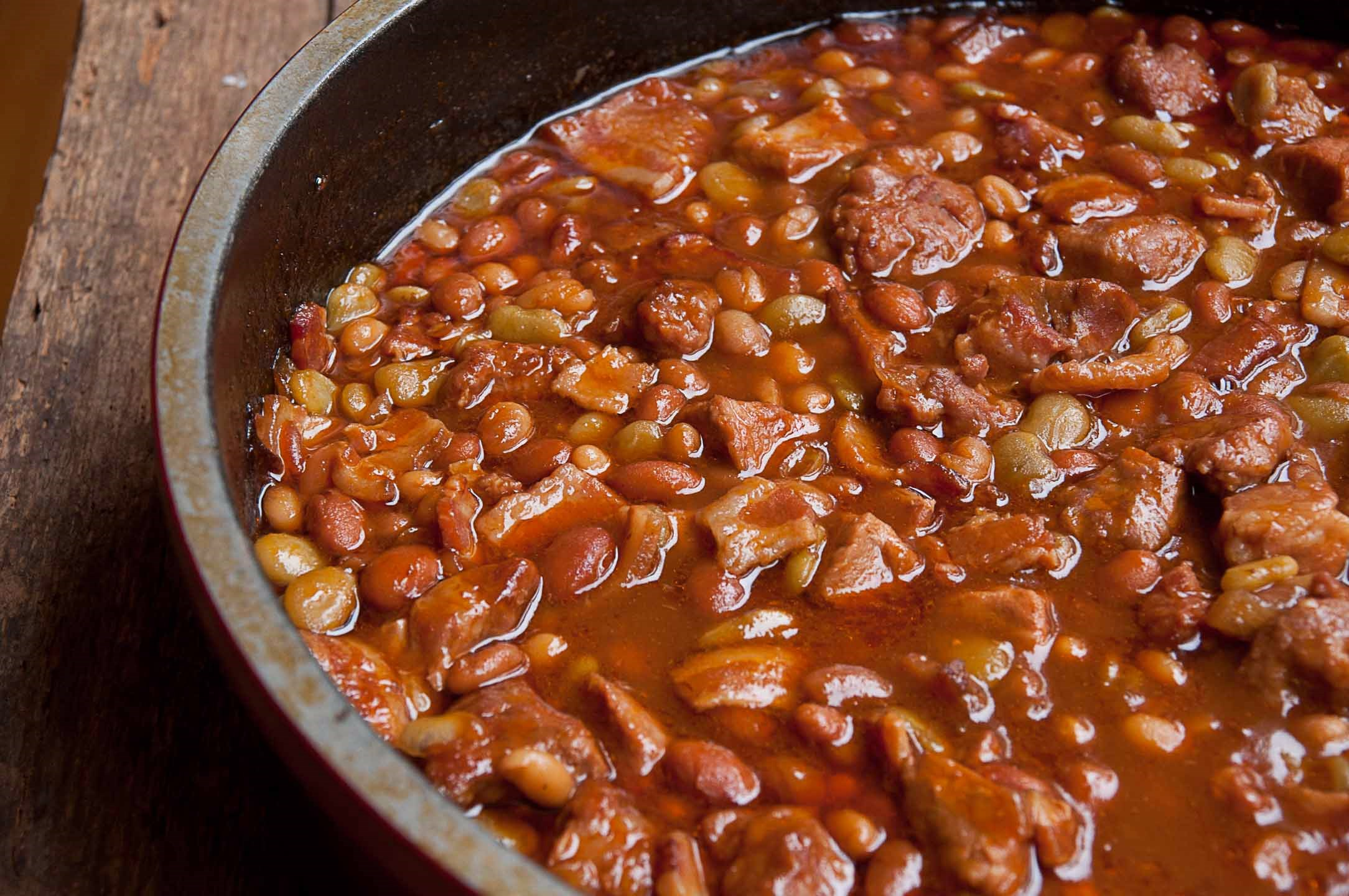 Meaty Maple Baked Beans