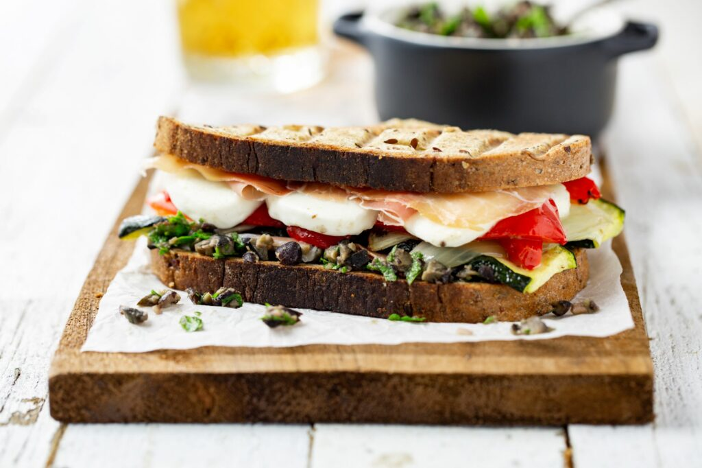 Prosciutto Panini with Black Bean Tapenade