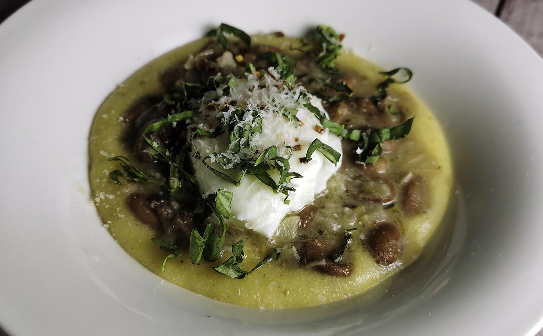 Braised Romano Beans with Polenta